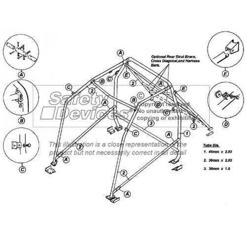 Safety Devices Peugeot 106 Multipoint Bolt In Roll Cage